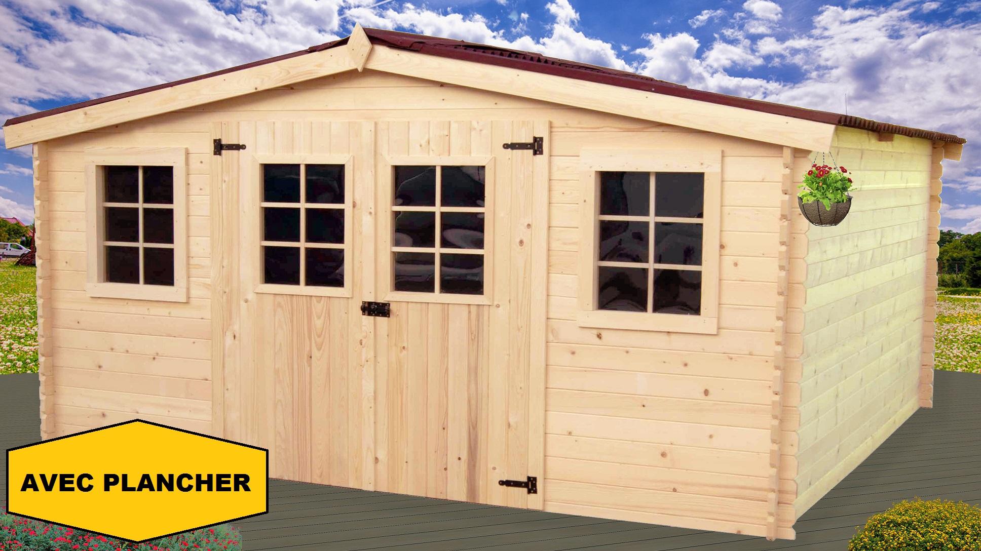 Abri de jardin en bois bayonne 4x3 m avec plancher bouvara for Chalet de jardin 12m2