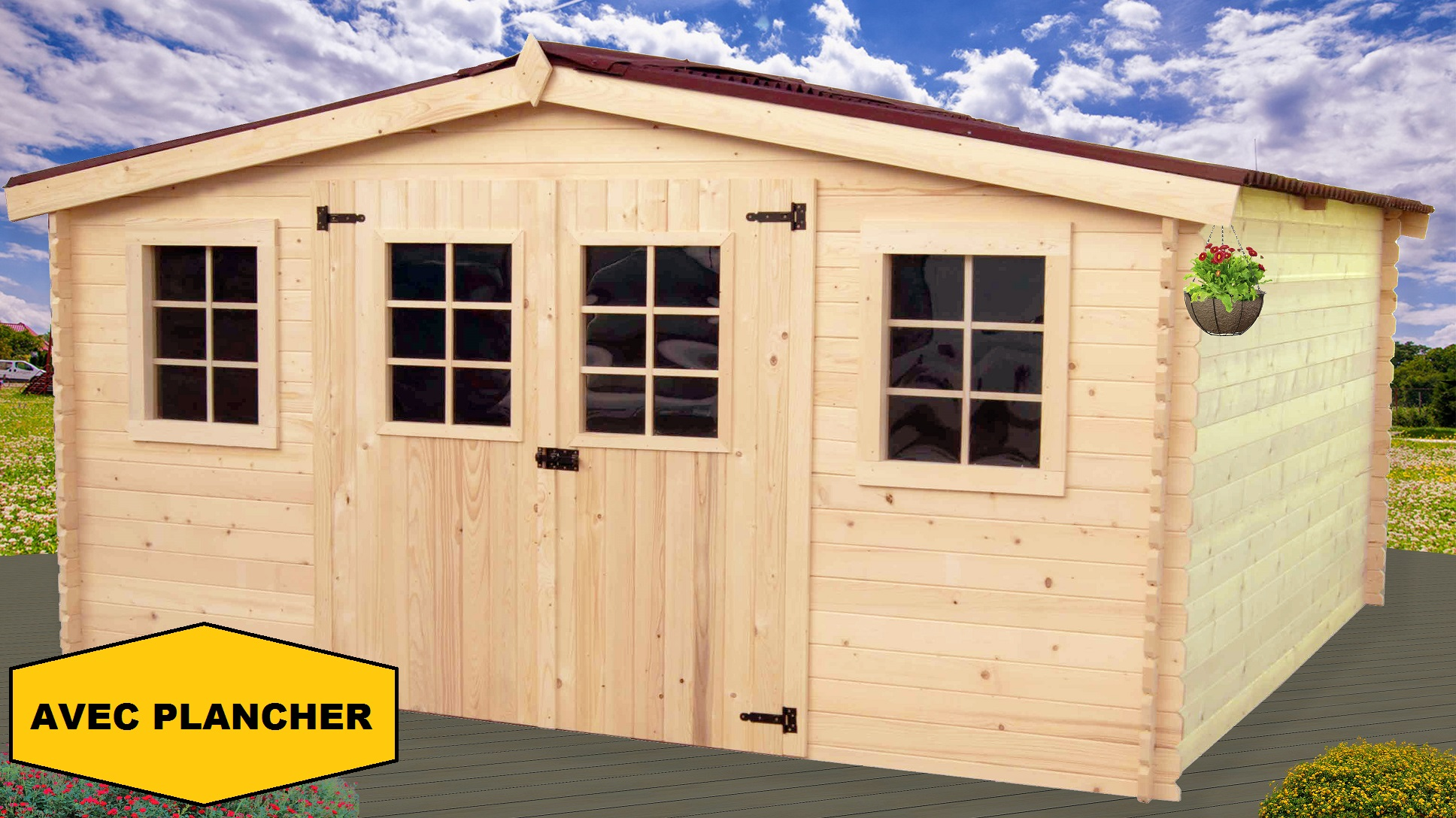 Abri de jardin en bois bayonne 4x3 m avec plancher bouvara for Porte cabane de jardin