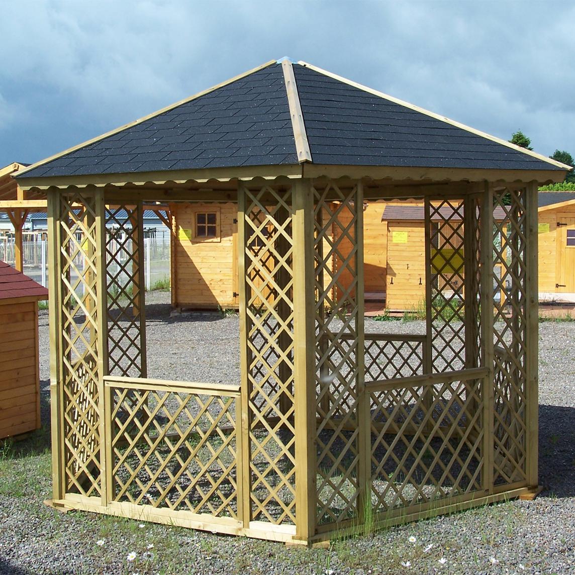 gloriette hexagonale diametre m livr e et mont e. Black Bedroom Furniture Sets. Home Design Ideas