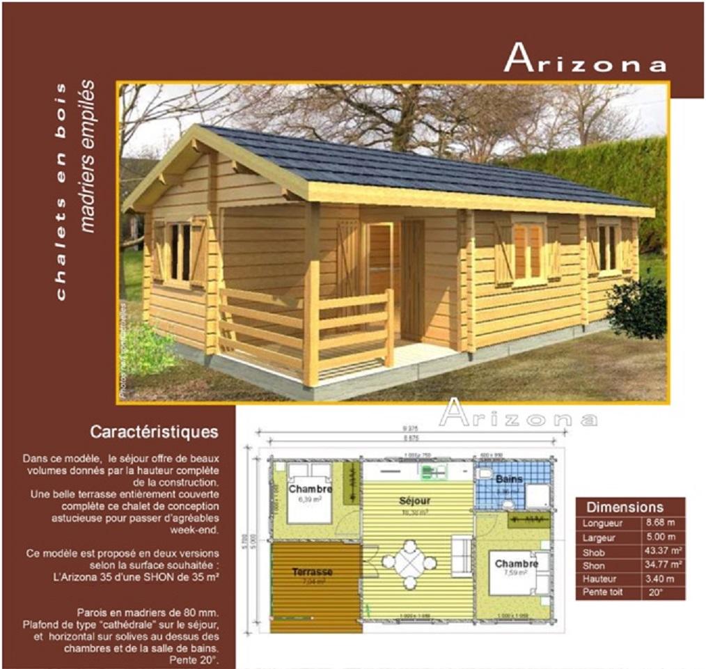 Habitation l g re de loisir 35 m2 arizona bouvara hll ariz bouvara des pri - Habitation de loisirs en bois ...