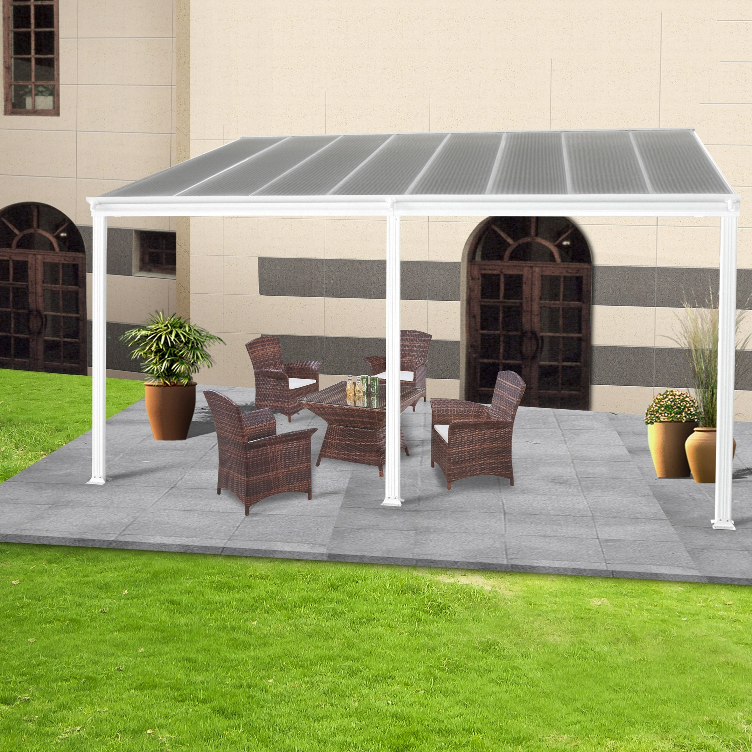 toit terrasse pergola 5x3 m en aluminium blanc bouvara tt3050bw8 bouvara des prix attractifs. Black Bedroom Furniture Sets. Home Design Ideas