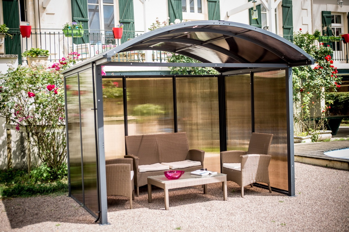 abri carport en aluminium 3x2 40m ferm sur 3 c t s bouvara aal30243c bouvara des prix. Black Bedroom Furniture Sets. Home Design Ideas