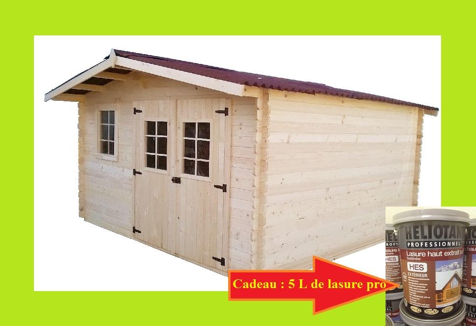 Abri de jardin en bois 4x3 m 12m2 garlaban avec 5 l de for Abri de jardin en bois 12m2
