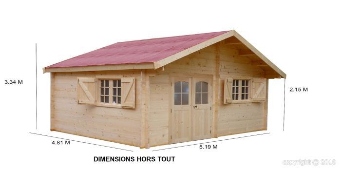 Abri de jardin en bois 5 19 x 4 81 m paisseur 42 mm naira for Abri bois 20m2