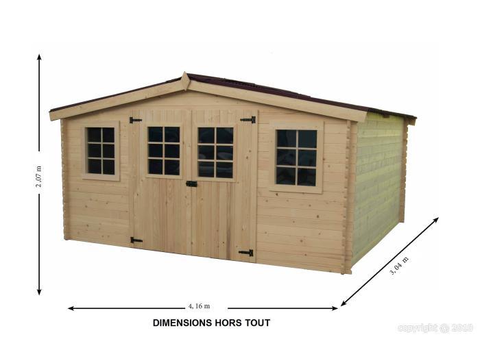 Abri de jardin en bois bayonne 4x3 m avec plancher bouvara for Abri de jardin en bois 20m2