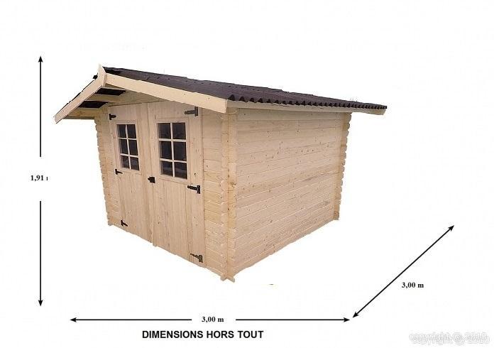 Abri de jardin en bois atlantic 3x3 m bouvara for Abri jardin 3x3