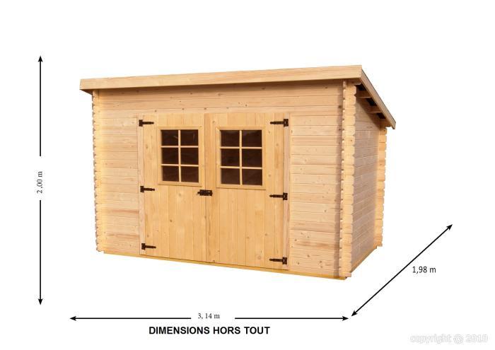 Abri de jardin en bois charente 3x2 m bouvara for Prix abri de jardin