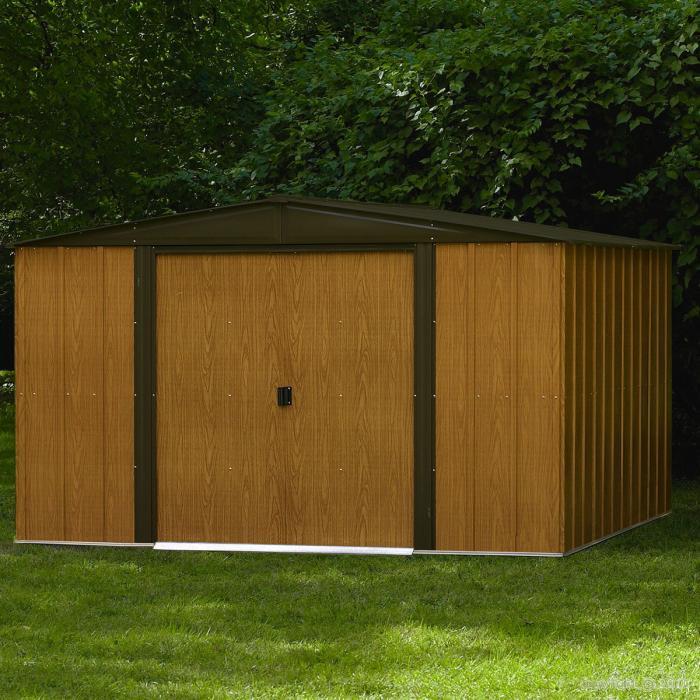 Abri de jardin metal imitation bois 11 60 m bouvara for Prix abri de jardin en bois