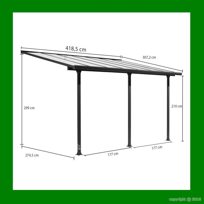 Carport toit terrasse en aluminium 4x3 m bouvara tt3042al bouvara des prix - Prix carport aluminium ...