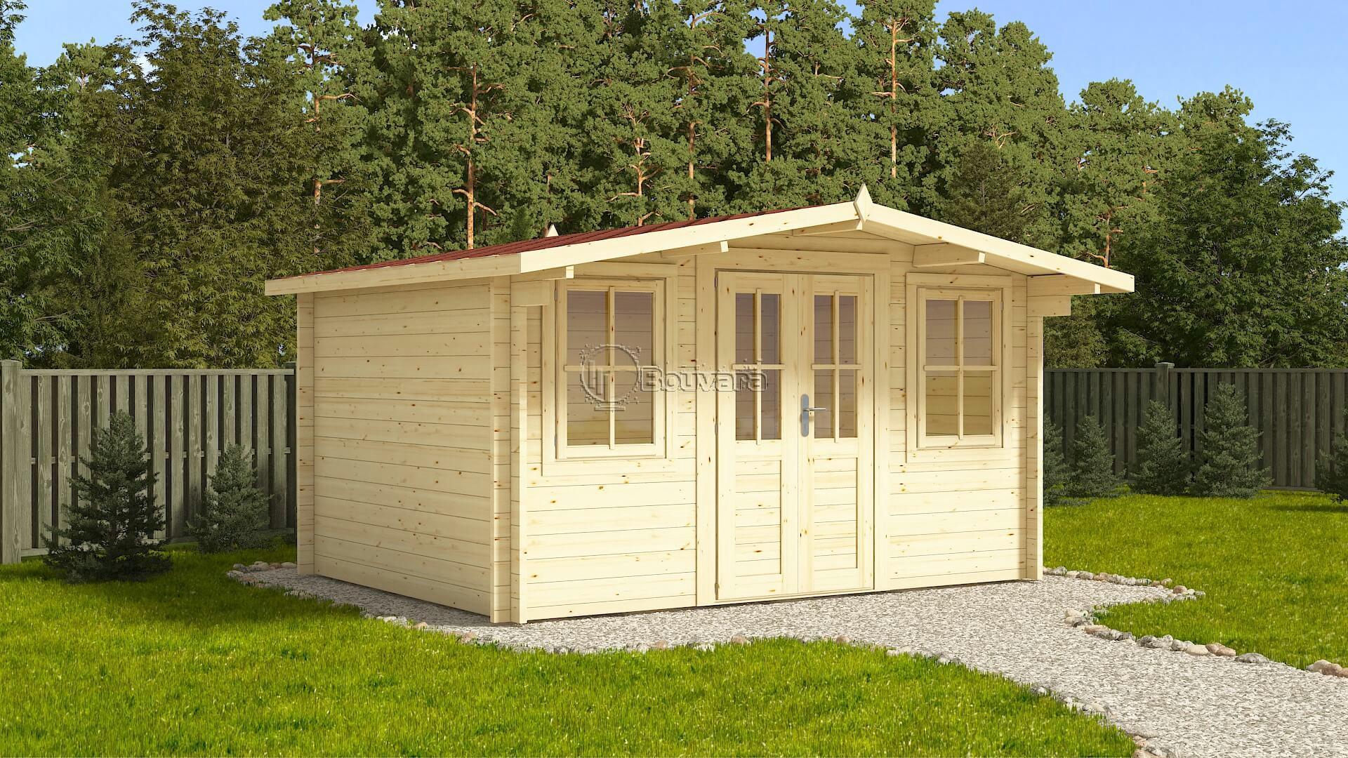 Abri De Jardin En Pin Douglas abri oxford 4x3m, 44mm, double vitrage, shingle rouge inclus