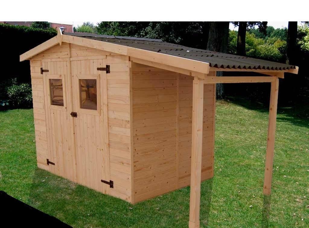 abri de jardin en bois EDEN avec bucher et plancher 3.48 x 1.87 m ...
