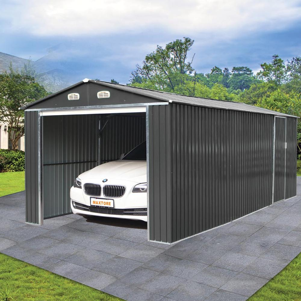 garage m tal 3x4 95m avec porte enroulable bouvara xa2 abris de jardin en bois pas cher. Black Bedroom Furniture Sets. Home Design Ideas