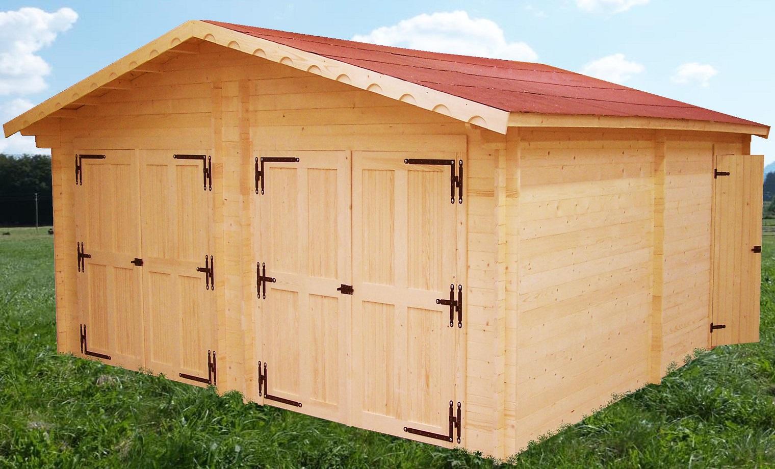 garage deux voitures vermont paisseur 42mm bouvara vr6262l abris de jardin en bois. Black Bedroom Furniture Sets. Home Design Ideas